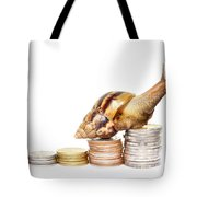 Brown Snail Climbing To The Top Of The Pile Of Coins  Tote Bag
