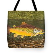 Brown Trout Fish Art Print Touch Down Brown Trophy Size Football Shape Brown Trout Angler Angling Tote Bag