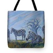 Browsing Zebras Tote Bag