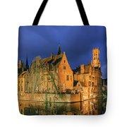 Bruges At Night, Belgium Tote Bag