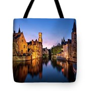 Bruges Canals At Blue Hour Tote Bag by Barry O Carroll