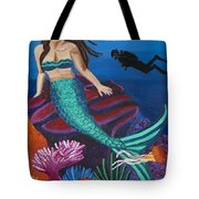 Brunette Mermaid With Turquoise Tail Tote Bag