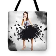 Brunette Pin-up Woman In Gorgeous Feather Skirt Tote Bag