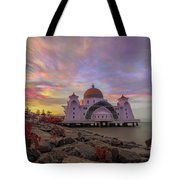 Brush Stroke Cloud Over Selat Mosque Tote Bag