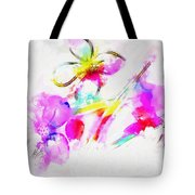 Brushed Abstract Flowers Tote Bag