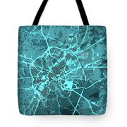 Brussels Traffic Abstract Blue Map And Cyan Tote Bag