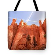 Bryce Canyon Hoodoos With Contrails Tote Bag