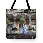 Bubbles Blow From An Ornate Balcony In New Orleans At Mardi Gras Tote Bag