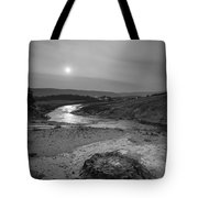 Bubbling Hot Spring In Yellowstone National Park Bw Tote Bag
