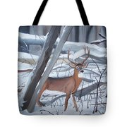 Buck In The Snow Tote Bag