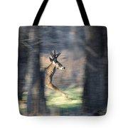 Buck Running Thru The Woods Tote Bag