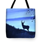 Buck Silhouette In Blue Tote Bag
