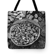 Bucket Of Rocks In Black And White Tote Bag
