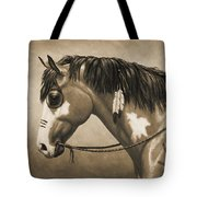 Buckskin War Horse In Sepia Tote Bag by Crista Forest