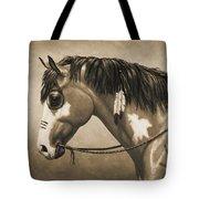 Buckskin War Horse In Sepia Tote Bag