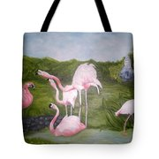 Buddah And The Flamingos Tote Bag