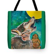 Buddha And The Divine Wolf No. 1370 Tote Bag