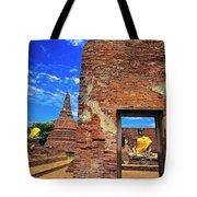 Buddha Doorway At Wat Worachetha Ram In Ayutthaya, Thailand Tote Bag