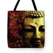Buddha In Red Chrysanthemums Tote Bag