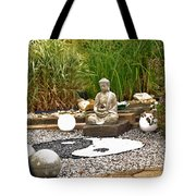 Buddha Looks At Yin And Yang Tote Bag