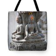 Buddha Statue At Temple - Swayambunat  Tote Bag