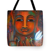 Buddha With A White Lotus In Earthy Tones Tote Bag by Prerna Poojara