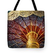 Buddhas Path To Enlightenment, Golden Umbrella Tote Bag