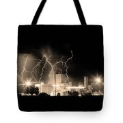 Budweiser Lightning Thunderstorm Moving Out Bw Sepia Crop Tote Bag