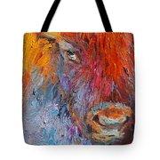 Buffalo Bison Wild Life Oil Painting Print Tote Bag