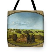Buffalo Chase With Accidents Tote Bag
