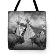 Buffalo Herd Among Teepees Of The Blackfoot Tribe Tote Bag