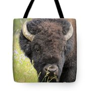 Buffalo In Flowers Tote Bag