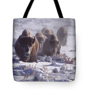 Buffalo In The Fog-signed-##6995 Tote Bag