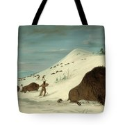 Buffalo Lancing In The Snow Drifts. Sioux Tote Bag