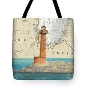 Buffington Harbor Lighthouse In Nautical Chart Map Tote Bag