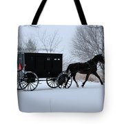 Buggy On Winter Road Tote Bag