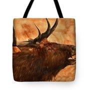 Bugling Bull Elk Autumn Background Tote Bag
