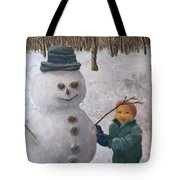 Building A Snowman  Tote Bag