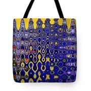 Building Of Circles And Waves Colored Yellow And Blue Tote Bag