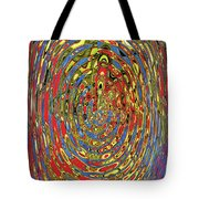 Building Of Circles And Waves Colored Yellow Red And Blue Tote Bag