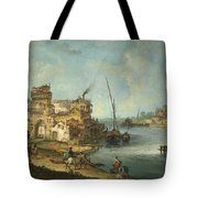 Buildings And Figures Near A River With Shipping Tote Bag