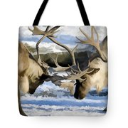 Bull Elk Fighting  Tote Bag