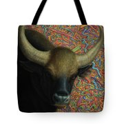 Bull In A Plastic Shop Tote Bag by James W Johnson