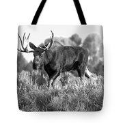 Bull On A Blue Sky Day Black And White Tote Bag