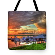 Bull River Marina Sunrise 2 Sunrise Art Tote Bag