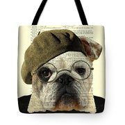Bulldog Portrait, Animals In Clothes Tote Bag