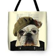 Bulldog Portrait, Animals In Clothes Tote Bag