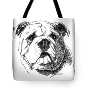 Bulldog-portrait-drawing Tote Bag