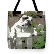 Bulldog Sniffing Flower At Garden Fence Tote Bag