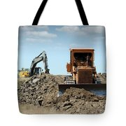 Bulldozer And Excavator On Road Construction Tote Bag